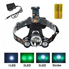 JUSTUP 3000 Lumen Bright Headlight Headlamp Flashlight Torch 3 CREE XM-L2 T6 LED with Rechargeable Batteries and Wall Charger for Hiking Camping Riding Fishing Hunting