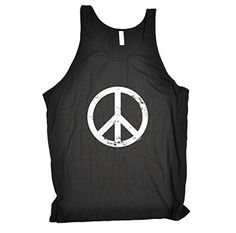 PEACE SYMBOL (S - BLACK) NEW PREMIUM BELLA TANK VEST TOP (BE104) - Slogan Funny Clothing Joke Novelty Vintage retro Mens Ladies Womens Girl Boy Men Women tshirt Tees Tee muscle gym fitness workout sports gift ideas for him gold's world's shirts Fashion Urban Cool geek cnd Campaign for Nuclear Disarmament day for Birthday Christmas Present - by Fonfella