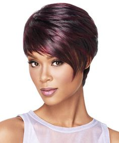 burgundy highlights in a PIXIE CUT More