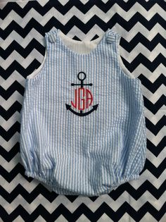 Blue and White Seersucker Monogrammed Baby Boys Bubble, Anchor Design, Sizes 3 months to 3T by dotsndimplesboutique on Etsy https://www.etsy.com/listing/150383503/blue-and-white-seersucker-monogrammed