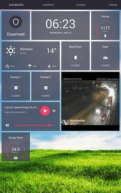 Home Automation Dashboard using OpenHAB and the Rotini android app.