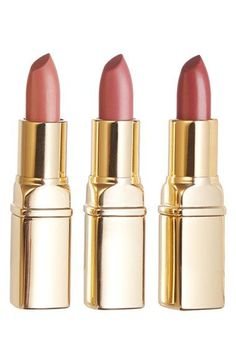 These semi-sheer, satin neutral lipsticks by Julep slip on like a balm and stay put. This trio set includes: belle (sheer blush pink), wink (sheer peach) & jinx (sheer dusty rose).