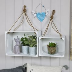 Pair of White Hanging Crate Style Shelves   #interiordesign #interiordecor #homedecor #home #decor #decorideas #interiors #interiorideas #luxury #lighting #home #pretty #glam #vintage #shabbychic #retro #industrial #silver #greyinterior