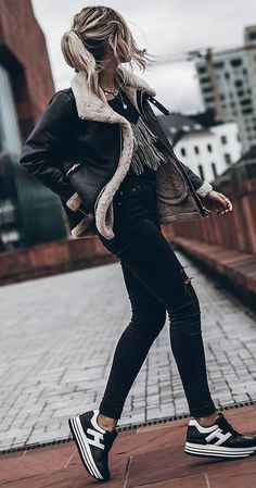 trendy outfit / biker jacket + top + skinnies + sneakers