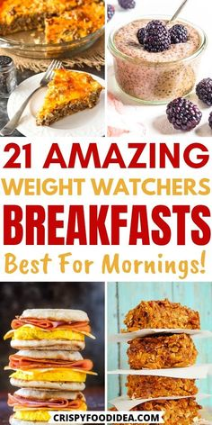 Weight Watcher Breakfast, Healthy Breakfast Recipes For Weight Loss, Healthy Snacks, Quick Easy Breakfast, Breakfast Ideas, Weight Watchers Meal Plans, Weight Watchers Snacks, Weightwatchers Recipes, Bariatric Recipes