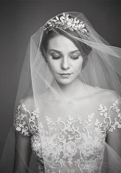Reem Acra Wedding Dress and Ariel Taub Veil