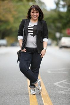 What I wore on the weekend: silver brogues from Bass, Black Vince Camuto blazer, J. Crew heart tee, Gap Real Straight Jeans and Rebecca Minkoff Mini MAC Petite Fashion, Plus Size Fashion, Womens Fashion, Silver Brogues, Chic Black Outfits, Rocker Chic, Mom Outfits, Fashion Advice, What I Wore