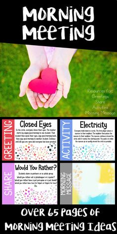 The best Morning Meeting resource! Uses the 4 components of the Responsive Classroom Morning Meeting model, greetings, share, activities, and morning message. Great for building community. School Classroom, Classroom Activities, Classroom Meeting, Classroom Ideas, Future Classroom, Montessori Classroom, Kindergarten Classroom, Class Meetings, Morning Meetings