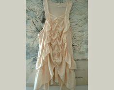 Women's summer tunic, ruffles cotton tunic, elegant romantic tunic, gypsy tunic, unique tunic, upcycled clothing, sleeveless tunic size M