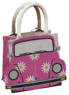 Beetle Pink Jute Reusable Shopping Bag - Campervan Gift