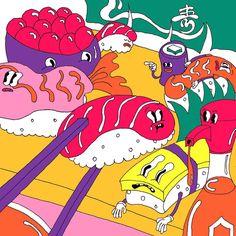 いいね!1,684件、コメント7件 ― Wakana Yamazakiさん(@wakanayamazaki)のInstagramアカウント: 「SUSHI #wakanayamazaki #illustration」