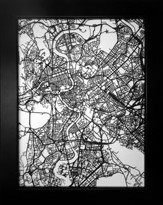 Rome Italy laser cut street map modern art by CarbonLight on Etsy, $65.00