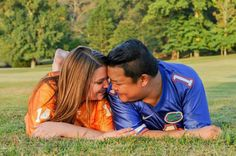 Couples Jerseys team rivalry Engagement Photos pictures football plus size fun engagement session