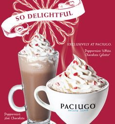 Warm Up! With Our New Peppermint White Chocolate Gelatte® & Peppermint Hot Chocolate...both available for Holiday 2014!