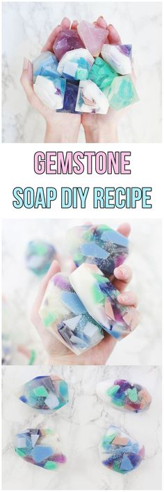 Gemstone Soap DIY Recipe #diy #diycrafts #howto #diyproject  #handmade #soap #soapmaking #recipe #recipeoftheday #homemade #homespa #simple #quick #quickandeasy #quickcrafter #organic #spa #gemstones #diamonds #diamond #colours #colorful #color