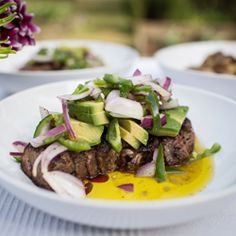 wood-grilled steak with avocado jalapeno salad