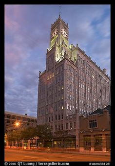 Art Deco building with clock tower at dusk. Jackson, Mississippi