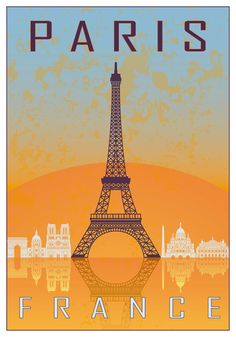 Paris vintage poster in orange and blue textured background with skyline in white. Free art print of Paris vintage poster. Old Poster, Poster Retro, Vintage French Posters, Vintage Travel Posters, Free Art Prints, Wall Art Prints, Plan Paris, Paris Vintage, Examples Of Art