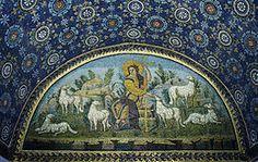 Mauzolej Gale Pladicije, Ravena, 450. g., luneta na sjeveru - Krist Dobri Pastir