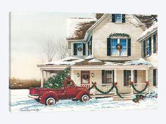 'Preparing for Christmas' Graphic Art Print on Canvas The Seasonal Aisle Size: 66 cm H x cm W x cm D Canvas Artwork, Canvas Frame, Canvas Art Prints, Canvas Wall Art, Christmas Canvas, Christmas Paintings, Warm Colors, Framed Art, Graphic Art