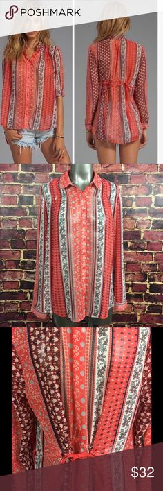 """Free People Sheer Button Down Moonlight Mile Free People """"Moonlight Mile"""" sheer button down shirt with tie back. Women's size medium, gently used with no flaws.  Medium Armpit to armpit- 22"""" Length- 27"""" Free People Tops Blouses"""