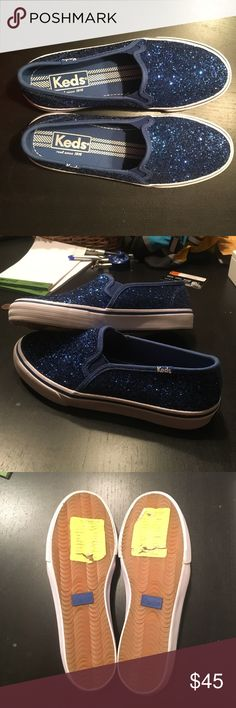 Brand New Blue Sparkle Keds. Bright blue sparkly Keds. BRAND NEW. They were new and no box included, seller received them directly from Keds. Limited edition. Size 6. Never been worn. Reposh, bought them and were too narrow for my bunion. Keds Shoes Sneakers