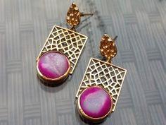 For sale ~ Window Pink Druzy Gold Tone Earrings
