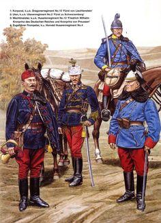 """Austria Ungheria - 1 Korporal, 10°Dragonregiment """"Furst Von Liechsteiner"""" - 2 Uhlan, 2°Hulanregiment """"Furst Von Schwarzenberg"""" - 3 Wachtmeister, 13° Hussarregiment """"Friedrich Wilhelm Kronprinz des Deutschen Reiches un Kronprinz von Preussen"""" - 4 Zugfuehrer-Trumpeter, 4° """"Honvèd"""" Hussarenregiment."""