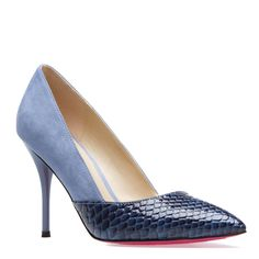 "Kira blue 4"" faux suede and snake heel at ShoeDazzle $39.99 http://www.shoedazzle.com/invite/l6ai37o5t"