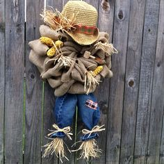 NEW to Etsy, Scarecrow Wreath, Burlap Bubble Wreath, Fall Wreath  on Etsy, $80.00