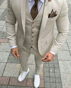Latest Coat Pant Designs Beige Men Suit Prom Tuxedo Slim Fit 3 Piece Groom Wedding Suits For Men Custom Blazer Terno Masuclino - Anzug Outfits - Bal Smoking, Mens Suits For Sale, Dress Suits For Men, Men Dress, Male Prom Suits, Trendy Prom Suits, Prom Suits For Guys, Costume Beige