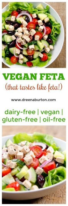 Vegan Feta - that really tastes good! This dairy-free recipe is also oil-free, gluten-free, and nut-free. Use in any dish you'd use traditional feta.