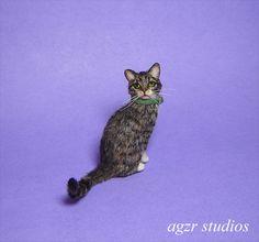 OOAK 1:12 Dollhouse Miniature Cat Kitten Furred Kitty Pet Handmade Realistic