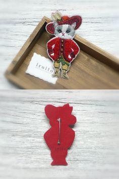 長靴をはいたネコの刺繍ブローチ by シマヅカオリ  白ネコバージョン→http://minne.com/items/336572