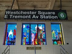 CITY OF LIGHT Stained Glass Windows, Westchester Square Subway Station, Bronx, New York City