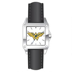 WONDER WOMAN Logo Watch.  Square-shaped silver metal face with Wonder Woman Logo, featuring a Black Leather band.