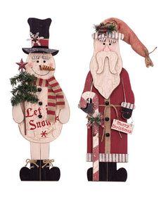 Loving this Wooden Santa and Snowman Décor Set on #zulily! #zulilyfinds
