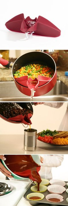 Clip-On Spout - attaches to mixing bowls, skillets, pots & pans for mess-free pouring and straining.