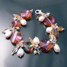 elegant Swarovski Crystal 5621 twist bead and pearl bracelet