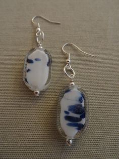 White and Blue Speckled Silver Earrings Item by YoungOliveJewelry