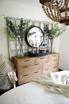 Rustic wood dresser - Cottage master bedroom makeover