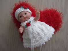 Valentine Rose Gown w Heart Pillow Set knit for 5 inch Berenguer Baby doll  #Berenguer