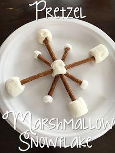 Building snowflake snacks for Tot School Tuesday: SNOW ideas for your toddler or preschooler {from Mrs. Plemons' Kindergarten}