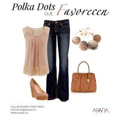"""El estampado """"Polka Dots"""" Es un clásico que no pasa de moda. Acompáñalo con #Joyas de Arana."""