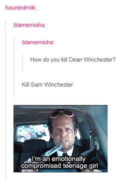 """ And the answer is: ""Kill Sam Winchester"". Sam Dean, Dean Castiel, Sammy Supernatural, Sam Winchester, Winchester Brothers, Impala 67, Bitch, Cw Series, Fandoms"