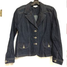 Christopher & Banks Jean Jacket Dark blue jean jacket with fancy buttons! Like new! Missing one small clear stone on one of buttons. See photo Christopher & Banks Jackets & Coats Jean Jackets