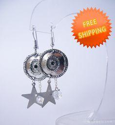 Metal star and disc earrings Girlfriend gift Gift by RinasJewels