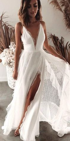 24 Unforgettable Beach Destination Wedding Dresses ❤ beach destination wedding dresses boho with spaghetti straps deep v neckline grace loves lace ❤ are in the right place about Beach Wedding Dress tea length Here we offer you the Dress Plus Size, Wedding Dresses Plus Size, Dream Wedding Dresses, Bridal Dresses, Wedding Gowns, Lace Wedding, Maxi Dresses, Evening Dresses, Summer Dresses