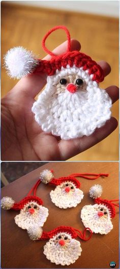 Just Be Crafts: Crochet Santa Face Applique Ornament Free Pattern. Free pattern at http://hooksandyarns.blogspot.com.au/2010/12/santa-and-wreath.html