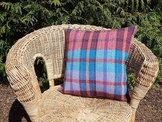"Wool Cushion 20"" Red & Blue"